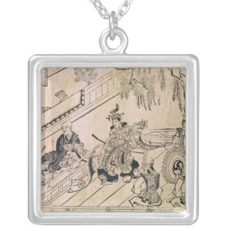 Scene of a Sacred Dance Square Pendant Necklace