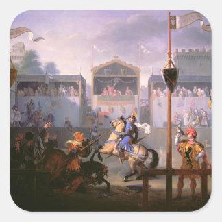 Scene of a Tournament in the Fourteenth Century, 1 Square Sticker