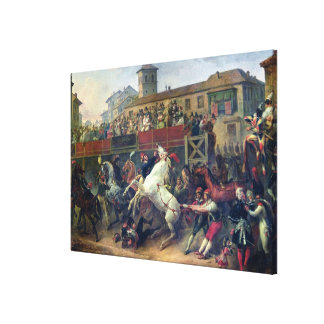 Scene of an unmounted horse race in Rome Canvas Prints