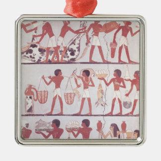 Scene of butchers and servants bringing metal ornament
