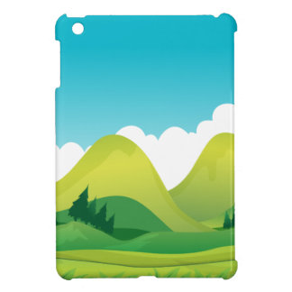 Scene of green field with mountains background cover for the iPad mini