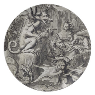 Scene of Hell, illustration from Book 1 Part 3 Cha Dinner Plate