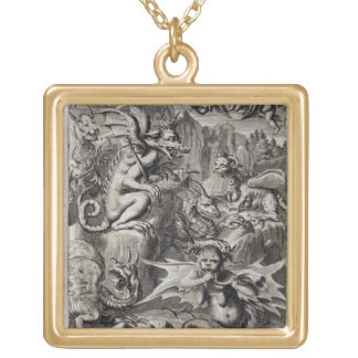 Scene of Hell, illustration from Book 1 Part 3 Cha Square Pendant Necklace