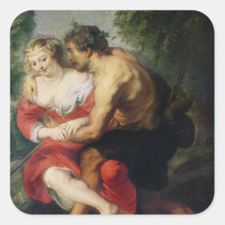 Scene of Love or, The Gallant Conversation Square Stickers