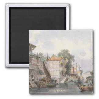 Scene on the Horan Canal near Canton c 1850 colo Magnet