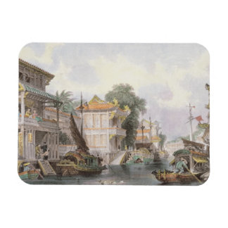 Scene on the Horan Canal near Canton c 1850 colo Rectangular Magnet