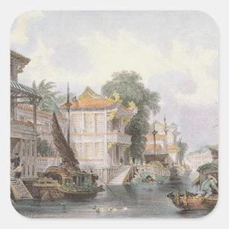 Scene on the Horan Canal near Canton, c.1850 (colo Square Sticker