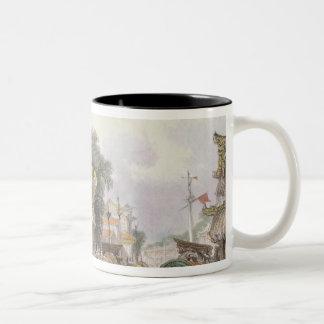 Scene on the Horan Canal near Canton, c.1850 (colo Two-Tone Coffee Mug