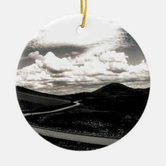 Scene Road Craters Of The Moon Double-Sided Ceramic Round Christmas Ornament