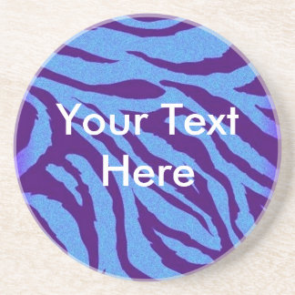 Scene Style Blue/Indigo Zebra Print Coaster