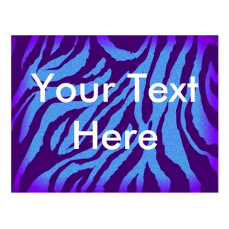 Scene Style Postcard - Blue/Indigo Zebra Print