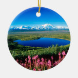 Scene Tundra Mount Mckinley Denali Alaska Double-Sided Ceramic Round Christmas Ornament