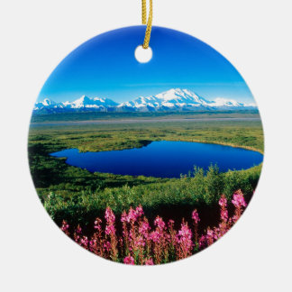Scene Tundra Mount Mckinley Denali Alaska Double-Sided Ceramic Round Christmas Ornament