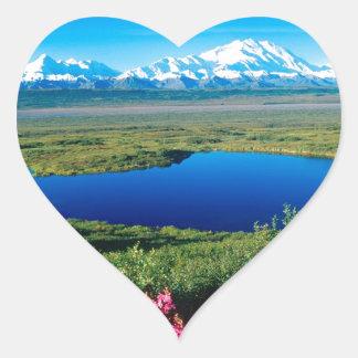Scene Tundra Mount Mckinley Denali Alaska Heart Sticker