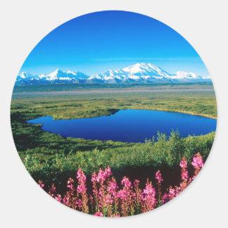 Scene Tundra Mount Mckinley Denali Alaska Round Sticker