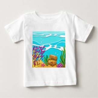 Scene under the ocean with treassure chest baby T-Shirt