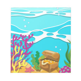 Scene under the ocean with treassure chest notepad