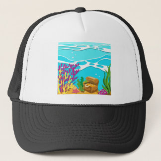 Scene under the ocean with treassure chest trucker hat