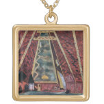Scenery design for Thamar, 1912 (colour litho) Square Pendant Necklace
