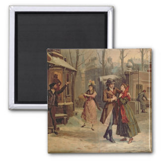 Scenery for the scene with Mimi and Rodolfo 2 Inch Square Magnet
