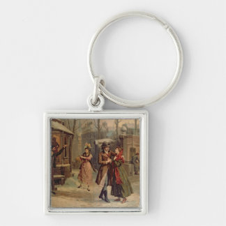 Scenery for the scene with Mimi and Rodolfo Silver-Colored Square Keychain