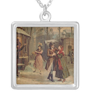 Scenery for the scene with Mimi and Rodolfo Square Pendant Necklace