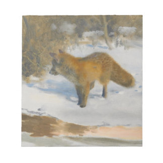Scenery of fox and winter notepad