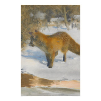 Scenery of fox and winter stationery