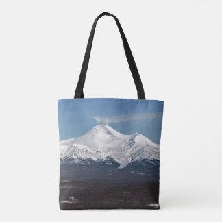 Scenery winter view of active volcano in Kamchatka Tote Bag
