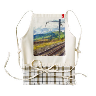 Scenery with train lines zazzle HEART apron