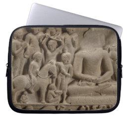 Scenes from Buddha's life, Sarnath, Uttar Pradesh Computer Sleeve