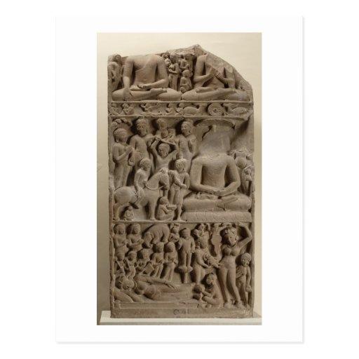 Scenes from Buddha's life, Sarnath, Uttar Pradesh Postcard