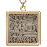 Scenes from Buddha's life, Sarnath, Uttar Pradesh Square Pendant Necklace