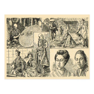 Scenes from Japanese life, French drawing Postcard