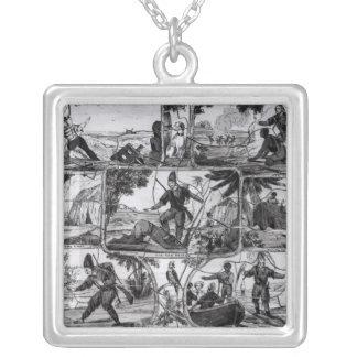 Scenes from 'Robinson Crusoe' by Daniel Defoe Silver Plated Necklace