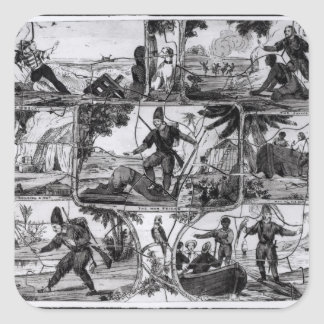 Scenes from 'Robinson Crusoe' by Daniel Defoe Square Sticker