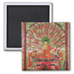 Scenes from the life of Buddha 2 Inch Square Magnet