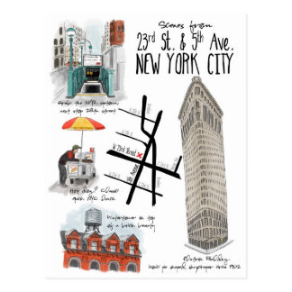 Scenes of 23rd and 5th Ave New York City Postcard