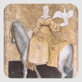 Scenes of courtly hawking square sticker