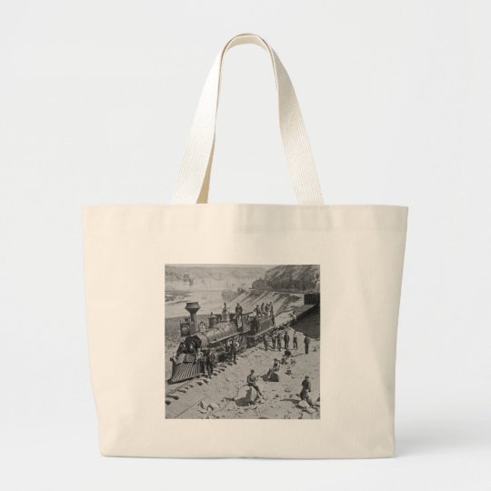 Scenes on the Union Pacific Railroad B&W Large Tote Bag