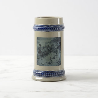 Scenes on the Union Pacific Railroad Cyan Beer Stein