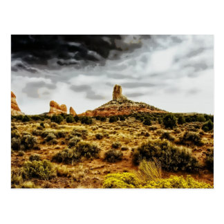 Scenic Arizona Butte Landscape Grey Sky Postcard