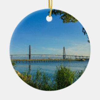 Scenic Arthur Ravenel Bridge Ceramic Ornament