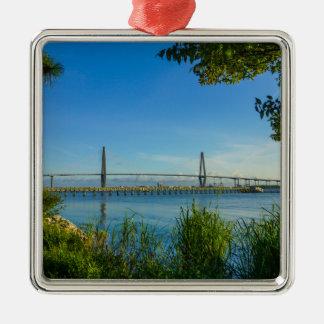 Scenic Arthur Ravenel Bridge Metal Ornament