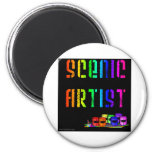 Scenic Artist Design On Black Background 2 Inch Round Magnet