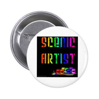 Scenic Artist Design On Black Background Button