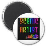Scenic Artist Design On Black Background Refrigerator Magnet