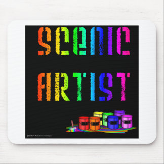 Scenic Artist Design On Black Background Mouse Mats