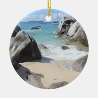Scenic Beach at The Baths on Virgin Gorda, BVI Ceramic Ornament