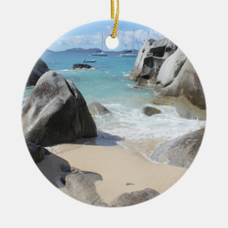Scenic Beach at The Baths on Virgin Gorda, BVI Double-Sided Ceramic Round Christmas Ornament